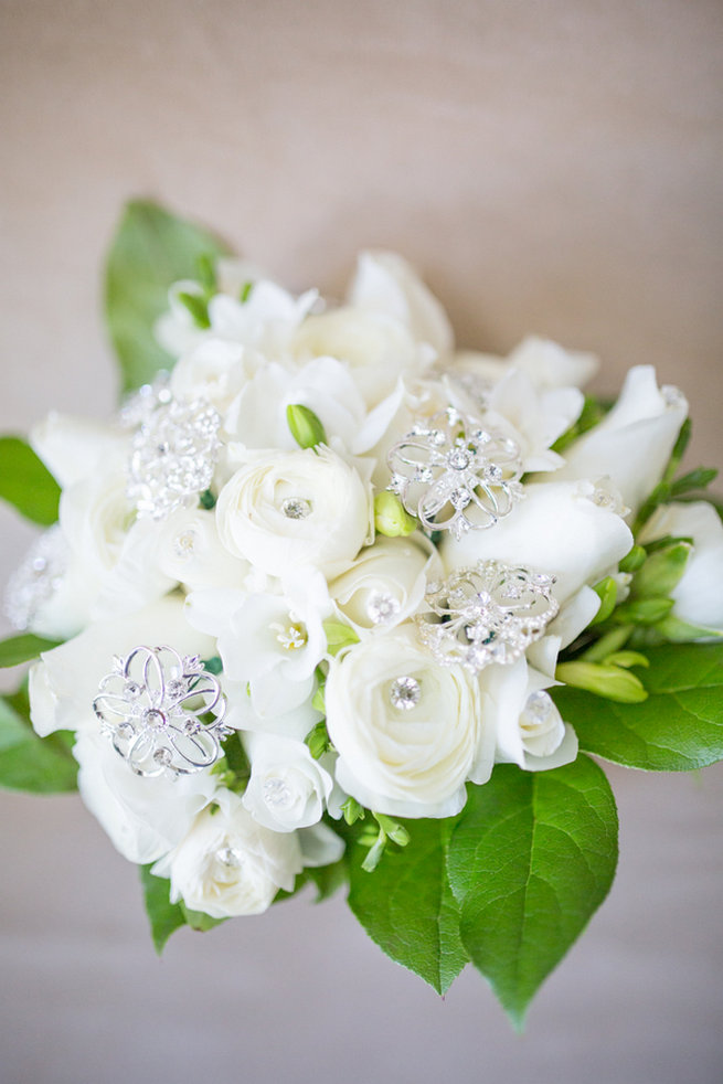 White and green bouquet - Vintage-Inspired White Glamorous Wedding Wedding - Haley Photography