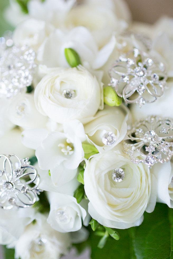 Bouquet - Vintage-Inspired White Glamorous Wedding Wedding - Haley Photography