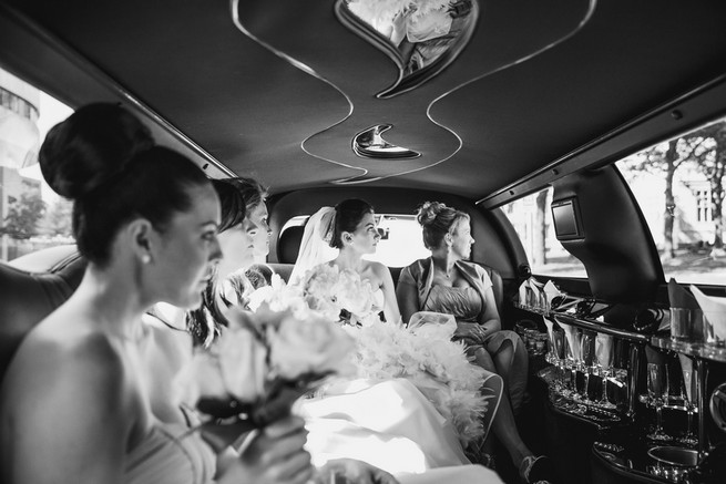 Bride and bridesmaids in car - Lindsey K Photography