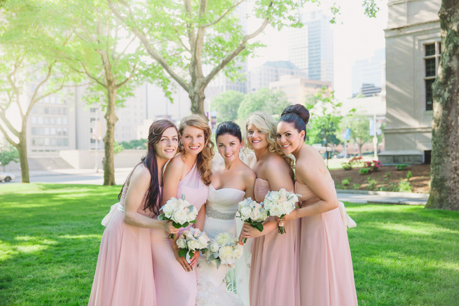 Blush pink bridesmaid dresses with white bouquets - Lindsey K Photography
