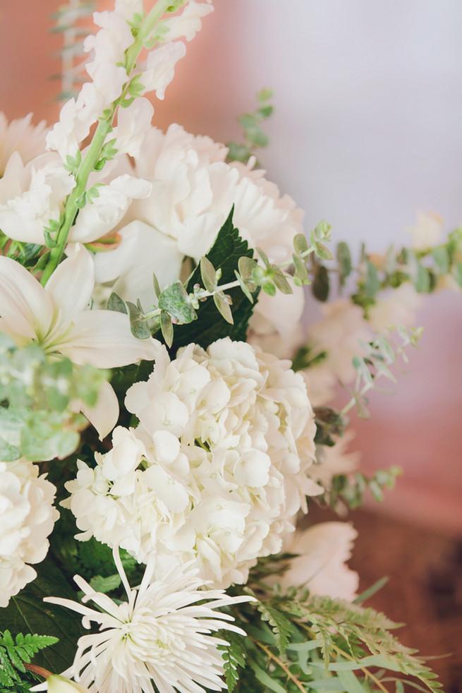 White hydrangea, spider mums, white peony floral wedding centerpiece - Lindsey K Photography