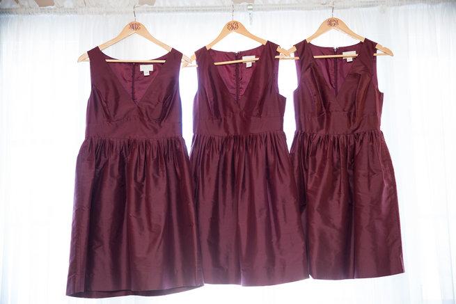 Short burgundy bridesmaid dresses  - Beautiful Burgundy and Tan Wedding - Molinski Photo