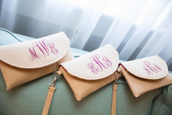 Monogrammed bridesmaid purses  - Beautiful Burgundy and Tan Wedding - Molinski Photo