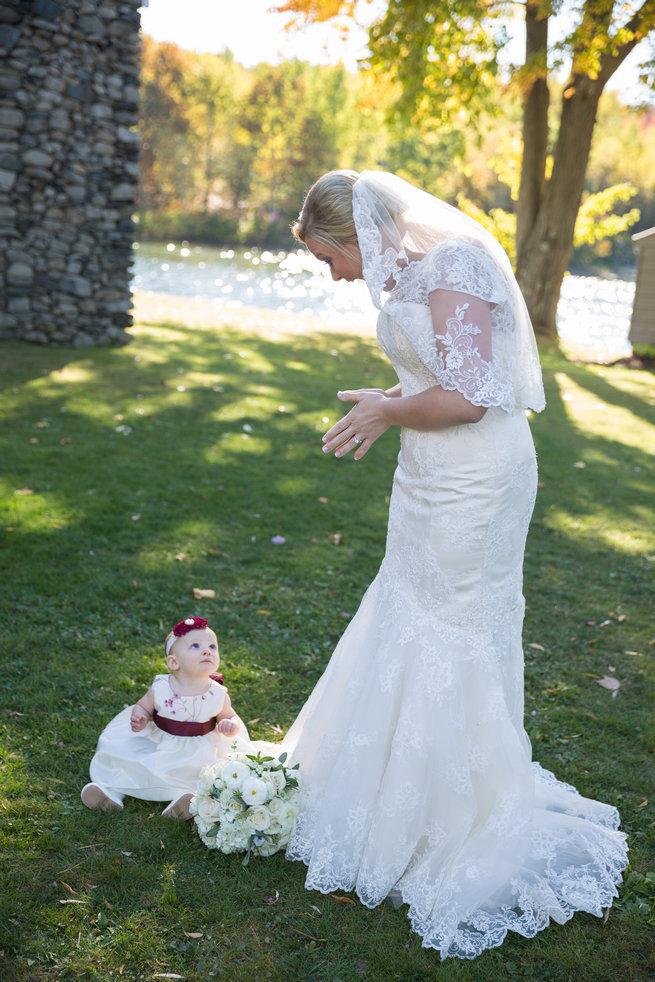 Adorable baby flower girl  - Beautiful Burgundy and Tan Wedding - Molinski Photo
