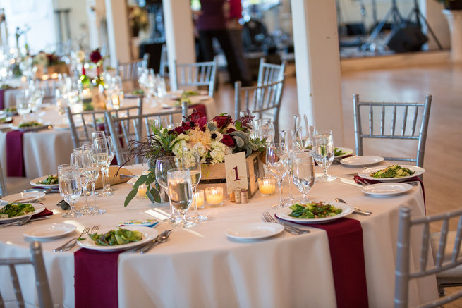 Tablescape Beautiful Burgundy and Tan Wedding - Molinski Photo