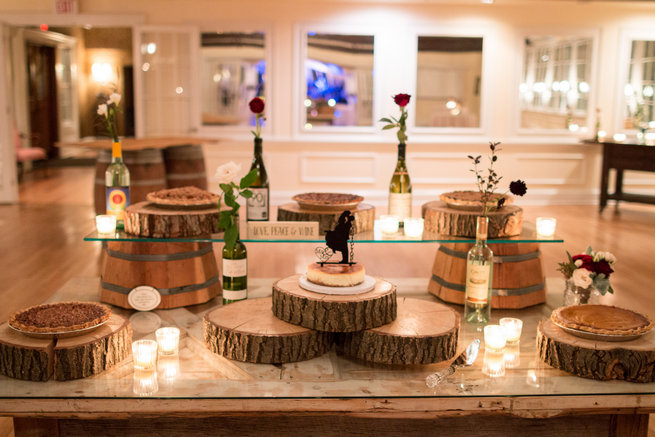 Rustic dessert table - Beautiful Burgundy and Tan Wedding - Molinski Photo