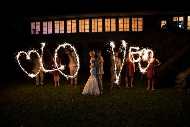 LOVE sparkler sendoff Beautiful Burgundy and Tan Wedding - Molinski Photo