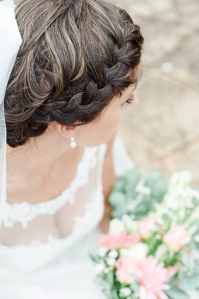 Wrap around bridal braid / Coral and Green South African Wedding // D'amor Photography