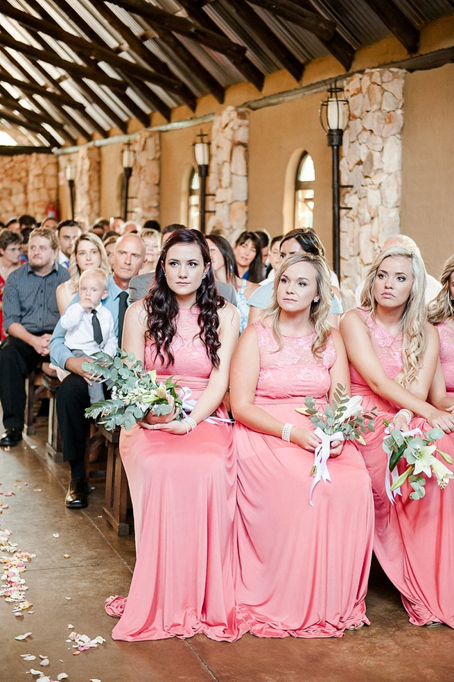 Peach bridesmaid gowns - Coral and Green South African Wedding // D'amor Photography