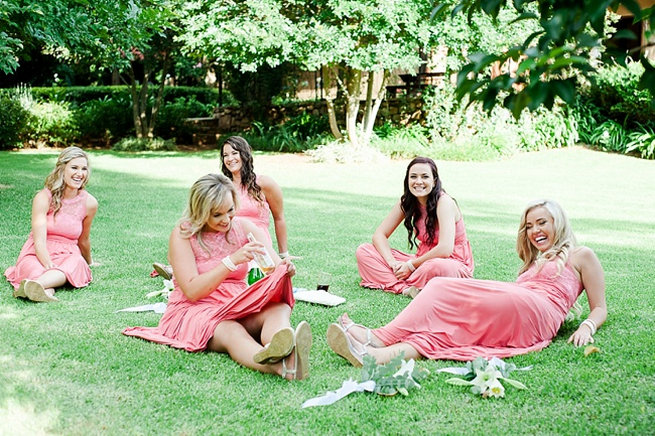 Coral bridesmaids / Coral and Green South African Wedding // D'amor Photography