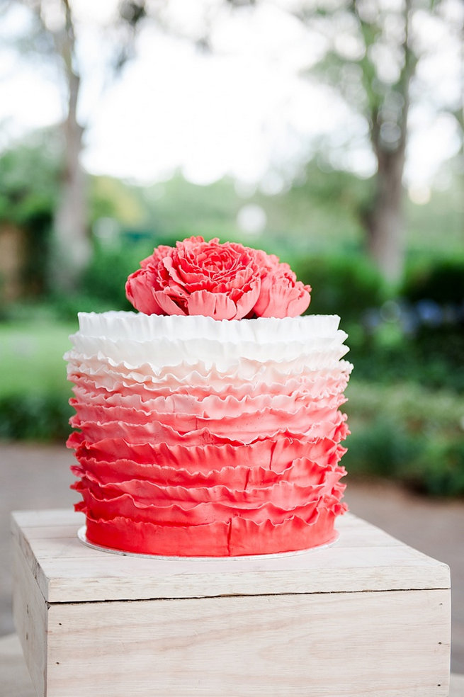 Peach and white ruffled wedding cake with peony topper. Coral and Green South African Wedding // D'amor Photography