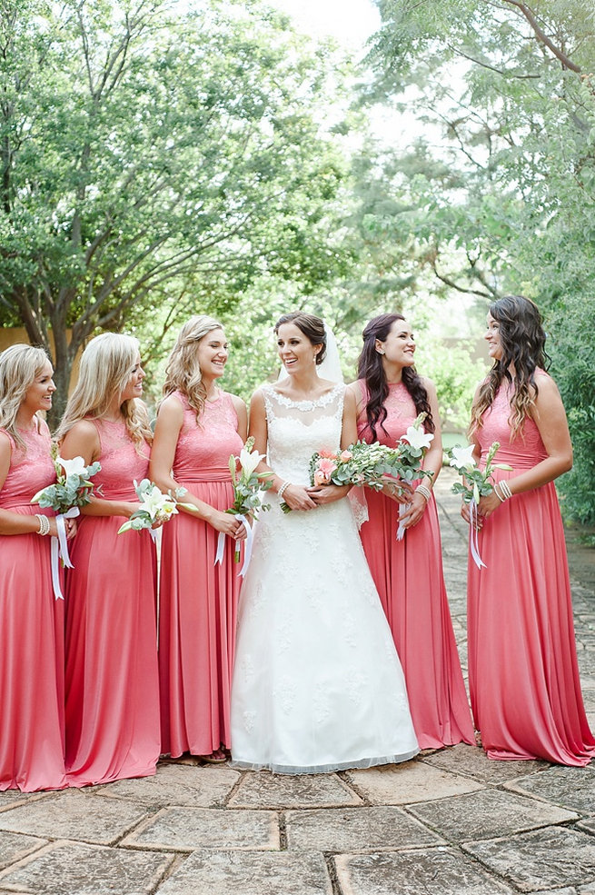 Full length coral bridesmaid dresses . Coral and Green South African Wedding // D'amor Photography