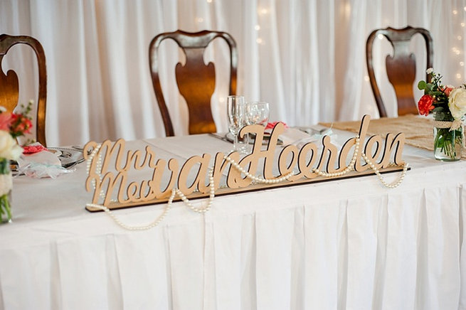 Mrs and Mrs Afrikaans wedding sign . Coral and Green South African Wedding // D'amor Photography