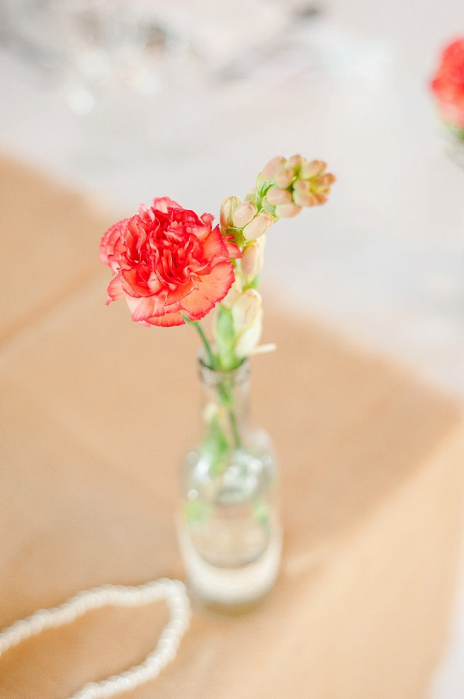 Single stem peach carnation in vintage vase / Coral and Green South African Wedding // D'amor Photography