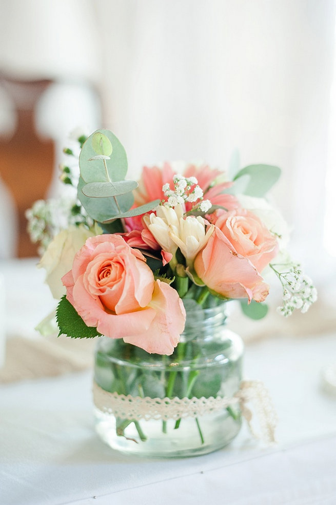 Peach roses, babys breath, eucalyptus / Coral and Green South African Wedding // D'amor Photography