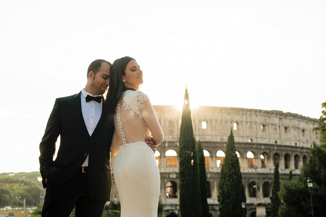 Sheer long sleeved wedding dress, backless and oh so chic . Elopement in Rome, Italy - Rochelle Cheever Photography
