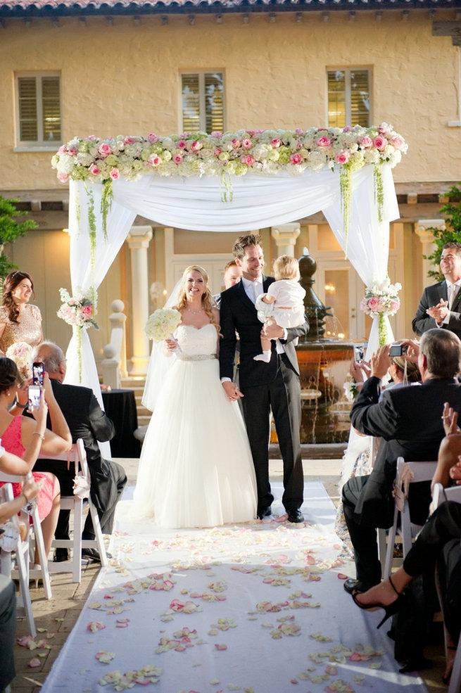 Gorgeous wedding arch / Blush and Gold Romantic, Glitzy Wedding - Andi Diamond Photography