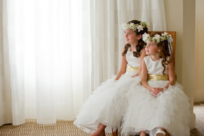 Flower girls with floral wreaths / Blush and Gold Romantic, Glitzy Wedding - Andi Diamond Photography