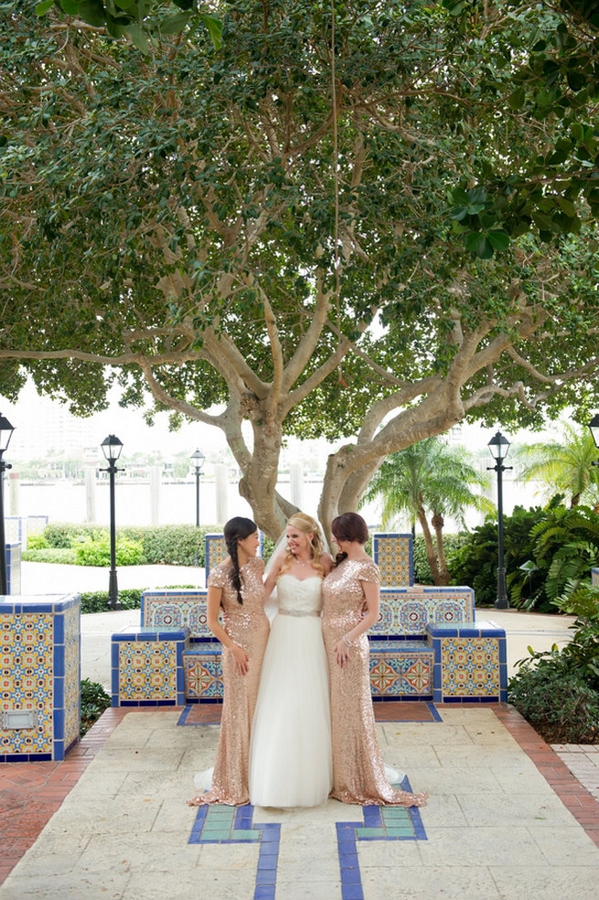 Rose gold bridesmaid gowns / Blush and Gold Romantic, Glitzy Wedding - Andi Diamond Photography