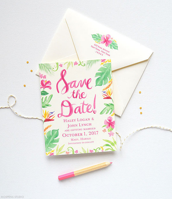 Tropical Botanical Wedding Invitation