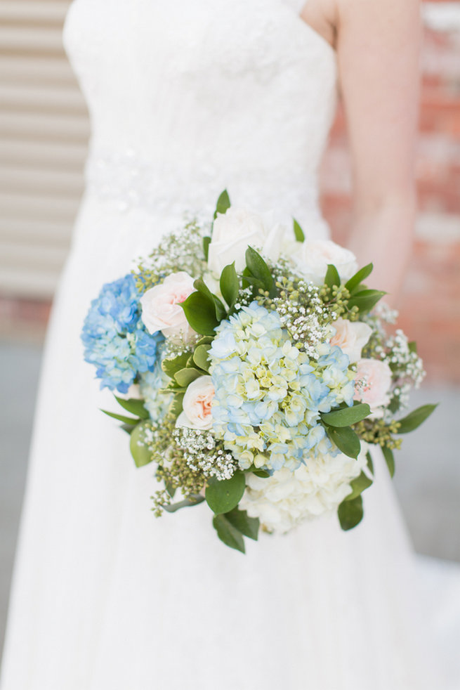 Roses, Hydrangea, babys breath white, blue and green bouquet. Modern Urban Wedding at Old Cigar Warehouse / Ryan and Alyssa Photography