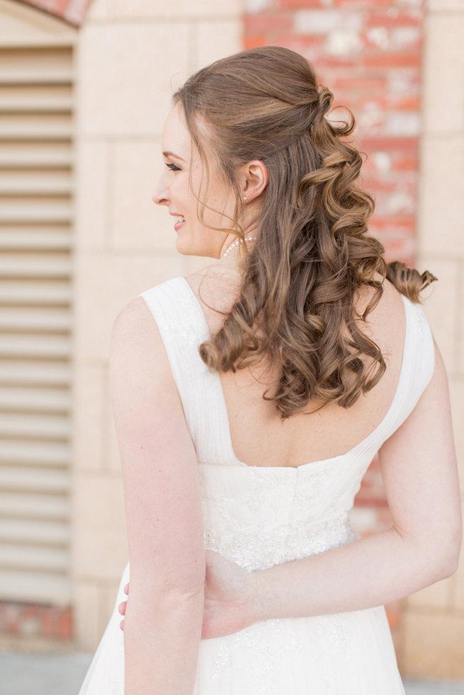 Pretty curls, half up, half down wedding hairstyle. Modern Urban Wedding at Old Cigar Warehouse / Ryan and Alyssa Photography
