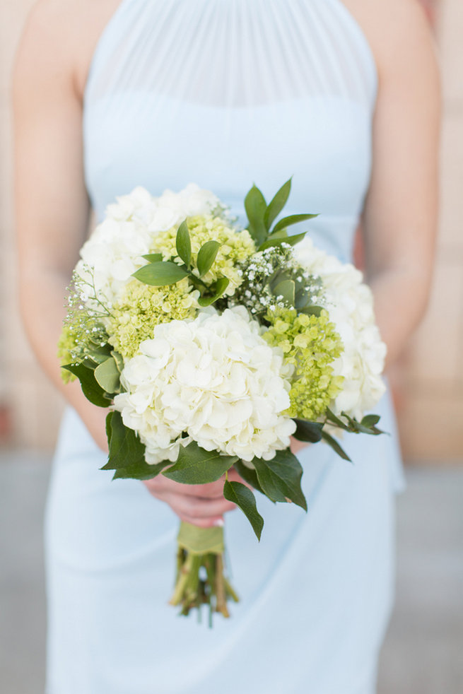 Hydrangea abd babys breath white and green bouquet. Modern Urban Wedding at Old Cigar Warehouse / Ryan and Alyssa Photography