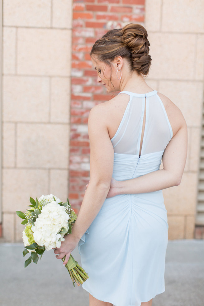 Pale blue bridesmaid dress. Modern Urban Wedding at Old Cigar Warehouse / Ryan and Alyssa Photography