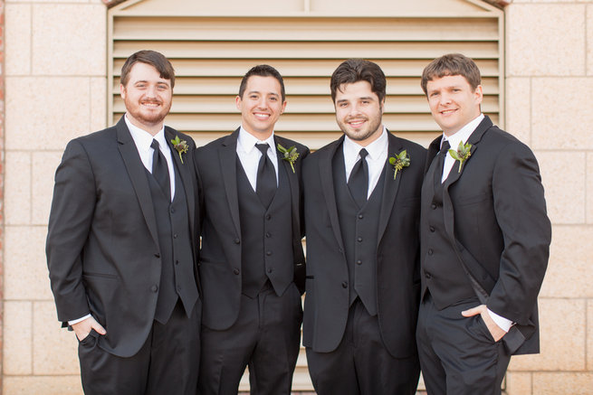 Charcoal groom and grooms attire. Modern Urban Wedding at Old Cigar Warehouse / Ryan and Alyssa Photography