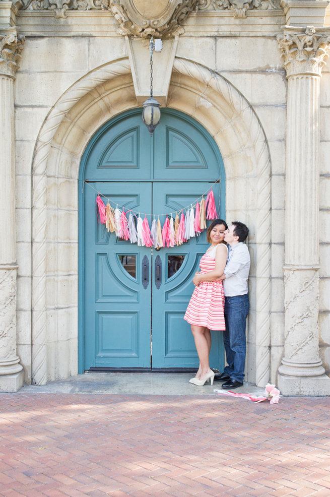 Pink tassle backdrop. Wedding Anniversary Photo Ideas by Peterson Photography
