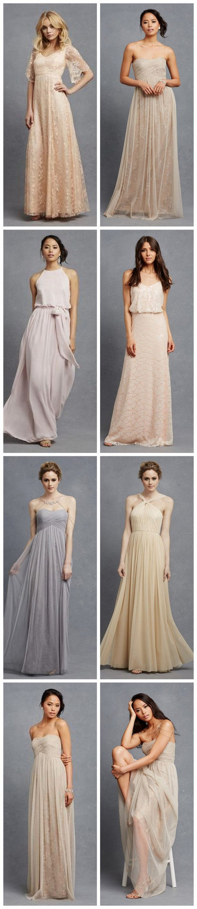 Chic, Neutral bridesmaid dresses in so many gorgeous silhouettes and fabrics!