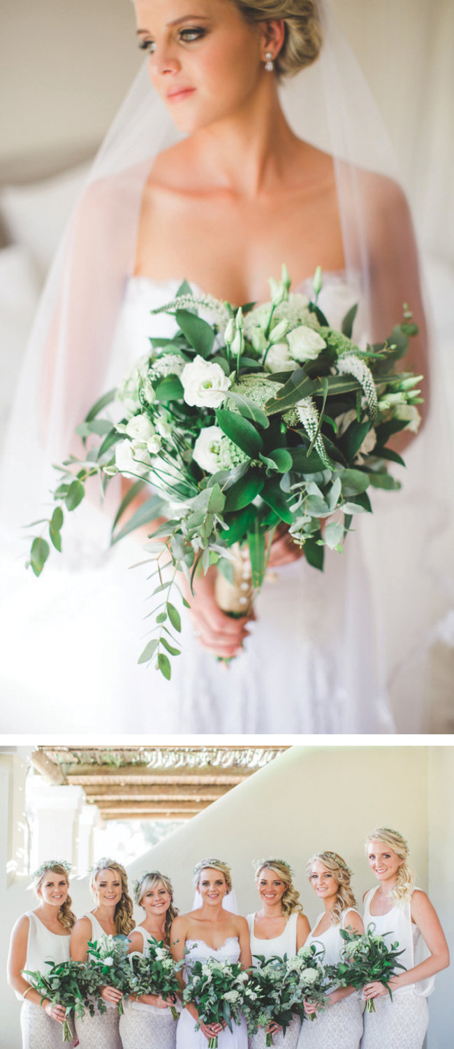 Breathtaking Wedding Bouquet: Gorgeous neutral all white bouquet with pops of green. Click to blog for more gorgeous bouquet ideas.