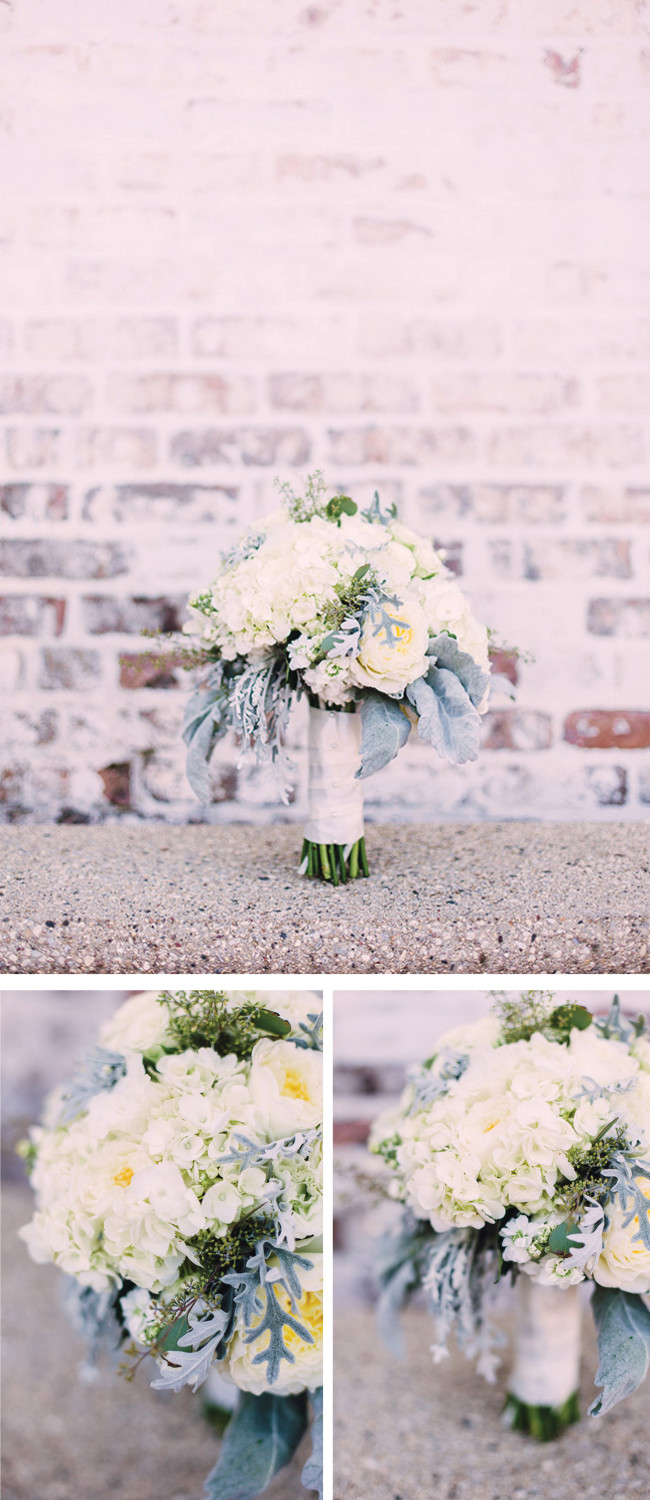Breathtaking Wedding Bouquet: Romantic white bouquet of roses, peonies, hydrangea, lambs ear and dusty miller. Click to blog for more gorgeous bouquet ideas.