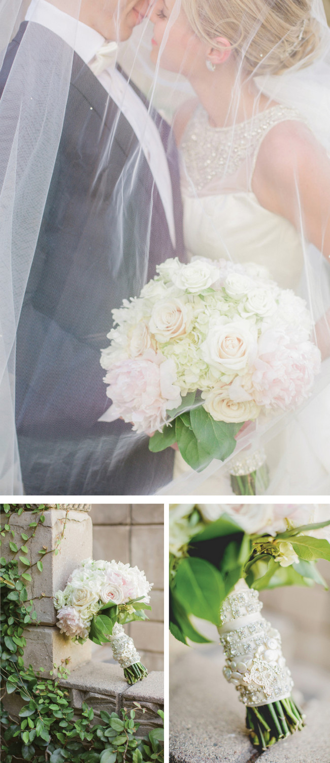 Breathtaking Wedding Bouquet: Gorgeous white and blush bouquet of peonies, roses and hydrangea. Click to blog for more gorgeous bouquet ideas.