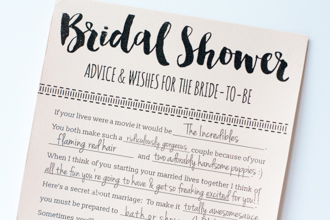 These Printable Bridal Shower Advice Cards are so fun! And it's a free download, yay!: https://www.confettidaydreams.com/bridal-shower-advice-cards-printable/