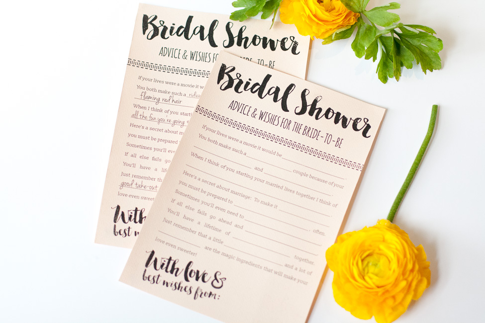 Fun Printable Bridal Shower Advice Cards {Free Download}