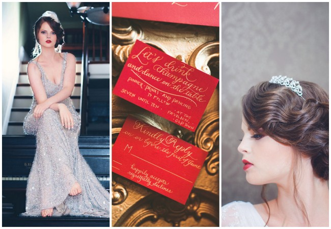 Gold and Red Speakeasy Wedding {La Candella Weddings}