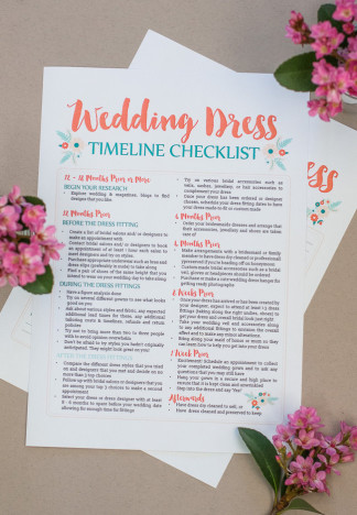This free wedding dress planning timeline printable is a cute checklist AND printable worksheet to add wedding dress contacts & fitting details! Get it now: https://www.confettidaydreams.com/wedding-dress-planning-timeline