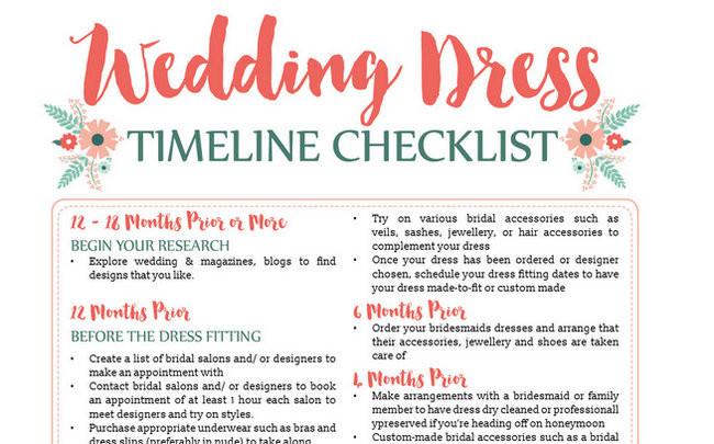 Wedding Dress Planning Timeline