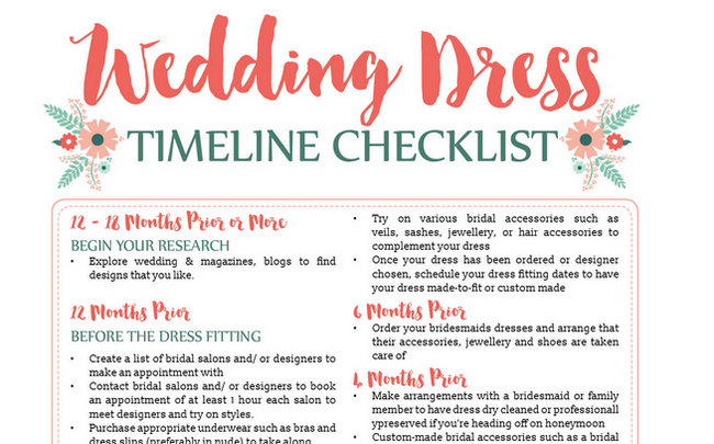 Wedding Dress Timeline FREEBIE {Wedding Planning Series}
