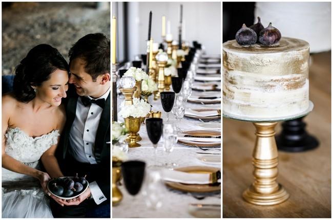 Classic Elegant Gold Black White Wedding Nikki Meyer Photography