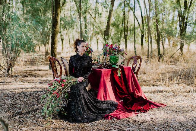 Dramatic black and red forest wedding - Jana Marnewick Photography