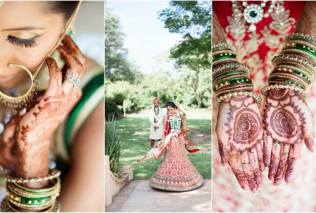 Dazzling Traditional Hindu Wedding Ceremony in Emerald + Red {CJ Smith}