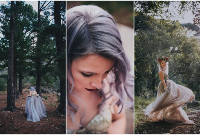Alternative Bride in Gold + Purple Wedding Dress Rocking Lilac Hair! {Lauren Pretorius Photography}