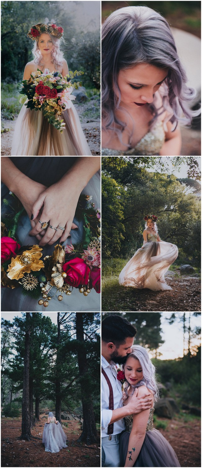 Alternative bride in gold and purple wedding dress with rocking silver purple hair!
