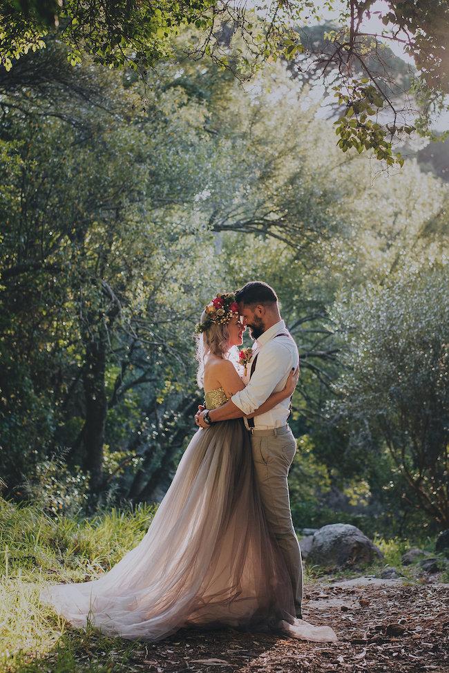 Alternative Gold Purple Wedding Dress Purple Hair