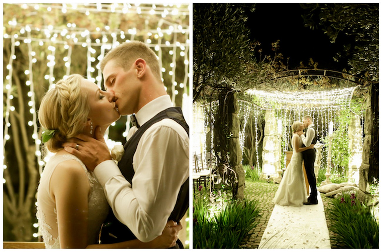 Mesmerizing Twinkling Outdoor Night Wedding Ceremony