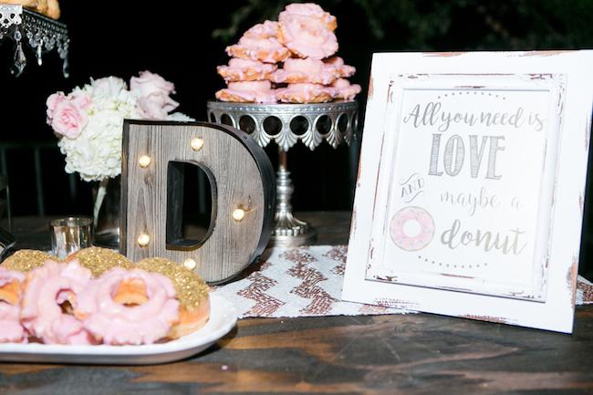 Champagne and Blush Wedding Donut Bar