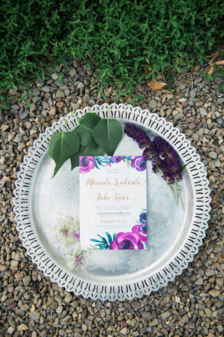 Purple Gold Wedding Table Decor