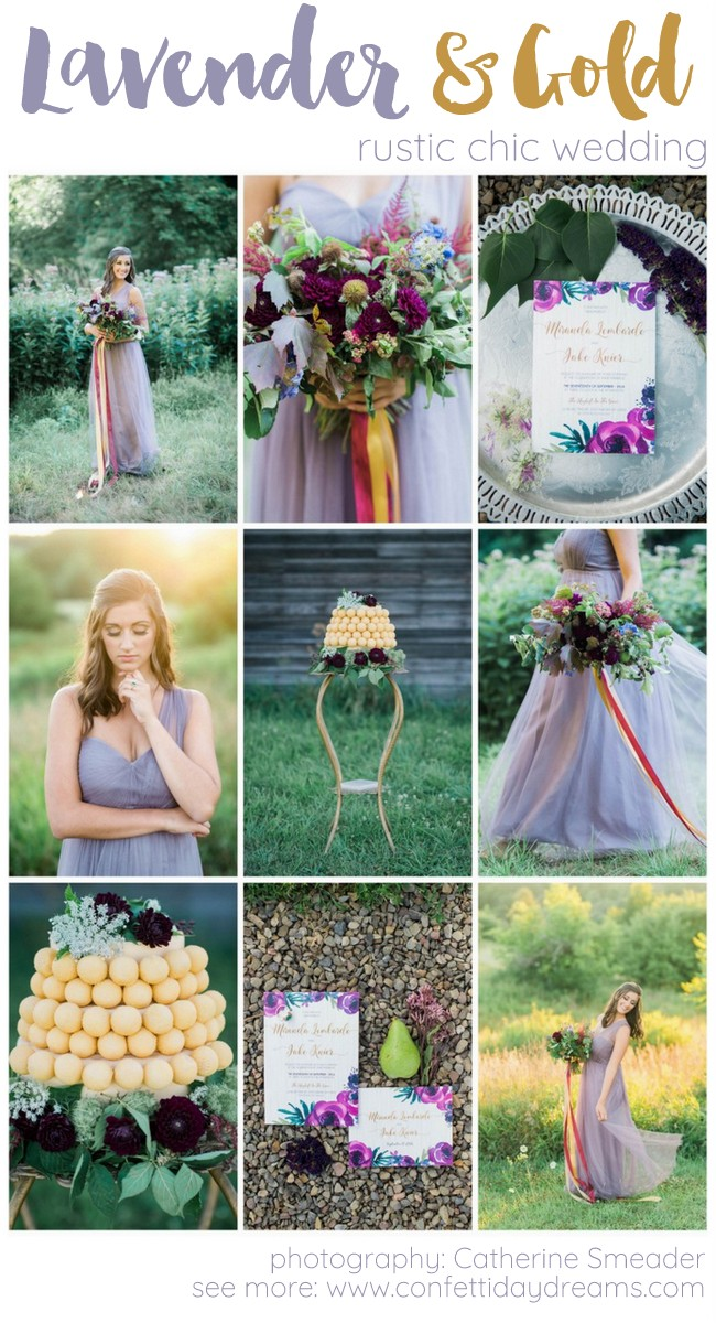 Purple Gold Rustic Chic Wedding Ideas
